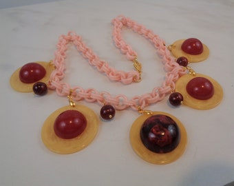 Bakelite Necklace Poker Chip Necklace Celluloid Chain Simichrome Tested Yellow Poker Chips with Chunky Red Cabochons and Marbled Beads