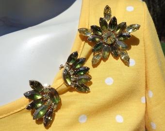 Mid Century Rhinestone Demi Brooch and Earrings