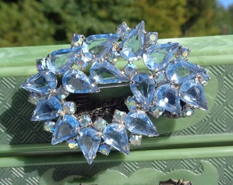 Large Blue Rhinestone Brooch Open Back Teardrops with Small Blue AB Rhinestones Sparkling Mid Century Vintage Rhinestone Pin Gift for Her