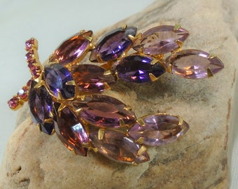 Sparkling Purple Rhinestone Brooch Open Back Navette Rhinestone Pin in Shades of Purple with Bright Pink Accent Stones in Gold Setting