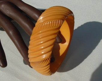Deeply Carved Cornflower Yellow Bakelite Bangle Simichrome Tested Wide Geometrically Carved Deep Yellow Catalin Bracelet