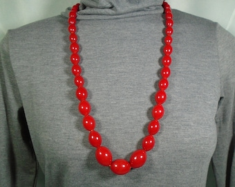 Cherry Red Bakelite Graduated Bead Long Necklace Simichrome Tested Glossy Red Bakelite Oval Bead Necklace with Carved Celluloid Closure