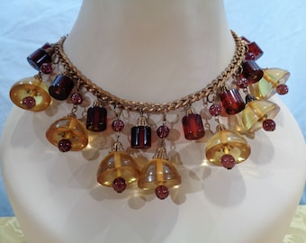 Gorgeous Bakelite Apple Juice, Root Beer and Glass Bead Necklace