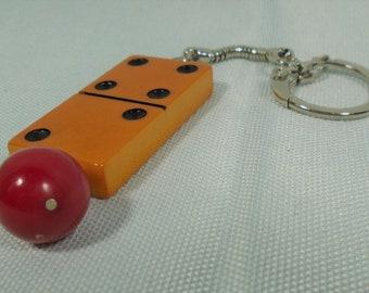 Bakelite Domino Key Chain with Red Bakelite Bead Fun Game Piece Key Ring Unisex Gift