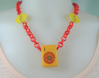 Bakelite Mah Jong Necklace with Number 1 Red Flower Tile on Red Plastic Chain Fun Game Piece Necklace