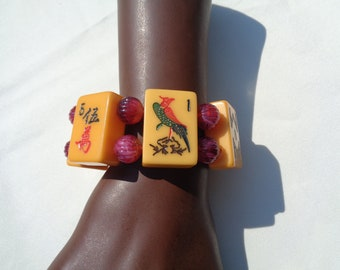 Bakelite Mahjong Bracelet with Vintage Lucite Beads Tiles Include Birdie Bam and West Wind Tiles with Red Marbled Beads Fun Game Bracelet
