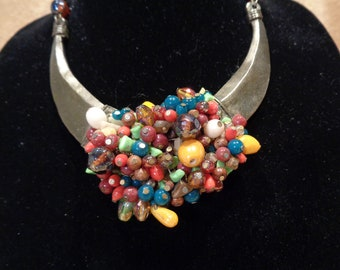 Vintage Glass Bead Statement Necklace
