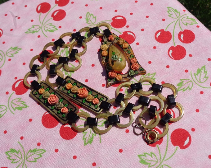 Featured listing image: Celluloid Necklace With Dangling Pendent Applied Roses and Painted Leaves and Borders Very Early Elaborate Celluloid Necklace Gift for Her