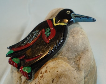 Bakelite Carved and Painted Penguin Brooch Simichrome Tested Adorable Nicely Carved Catalin Penguin Pin with Bright Enamel Paint