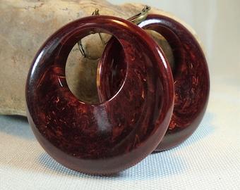 Gorgeous Bakelite Dangle Pierced Earrings in Black Cherry Marble Simichrome Tested Huge Catalin Dangle Earrings Statement Earrings
