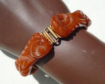 Bakelite Carved Link Bracelet Toffee with Light Chocolate Marbling Simichrome Tested Nicely Carved Catalin 4 Link Bracelet