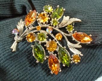 Weiss Rhinestone Brooch in Tangerine and Green Sparkling Mid Century Rhinestone Designer Pin in Silver Metal Setting
