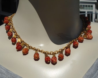 Flapper Necklace Carved and Dyed Celluloid Beads in Gold Cones on Gold Chain 1930's Celluloid Choker With Dangling Beads