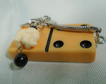 Bakelite Domino Key Chain with Plastic Elephant and Bead Fun Game Piece Key Ring Unisex Gift