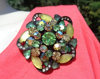 Large Chunky Rhinestone Pin Green Rhinestones and Yellow AB Rhinestones with Green & Yellow Frosted Glass Navettes in Black Metal Setting