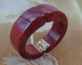 Bakelite Bracelet Rich Red Marbled Bakelite Clamper Simichrome Tested Bakelite Clamper Bracelet Multiple Reds Marbled with Soft Yellow