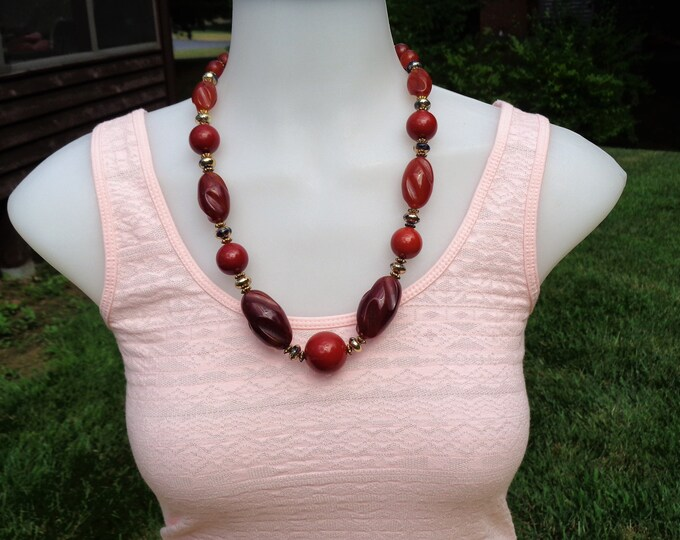 Featured listing image: Bakelite Jewelry Cherry Amber Bakelite Necklace Carved Bakelite Bead Necklace with Cherry Amber Beads Simichrome Tested Bakelite Necklace