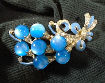 Beautiful Vintage Pot Metal Brooch with Azure Blue Open Back Lucite Moon Glow Cabs Pave Rhinestones and Enamel Paint Accents