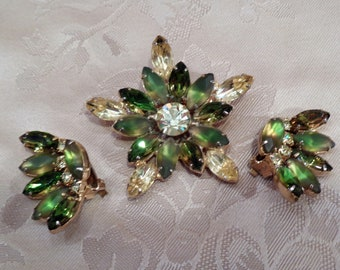 Mid Century Rhinestone Demi Brooch and Earrings