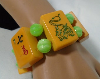 Bakelite Six Tile MahJong Bracelet with Green Dragon Birdie Bam Occupational and Flower Tiles and Vintage Green Molded Lucite Beads