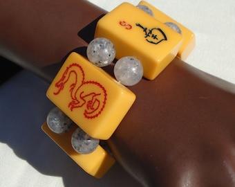 Bakelite Mah Jong Mahjong Bracelet Vintage Lucite Beads Simichrome Tested Bakelite Mahjong Bracelet includes Red Dragon, S and Flower Tiles