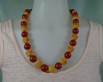 Bakelite Bead Necklace with Dusty Cherry and Carved Yellow 15MM Beads Simichrome Tested Gorgeous Bakelite Large Bead Necklace