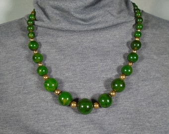 Bakelite Marbled Green Graduated Bead Necklace Simichrome Tested Glossy Marbled Bakelite Bead Necklace with Brass Spacer Beads
