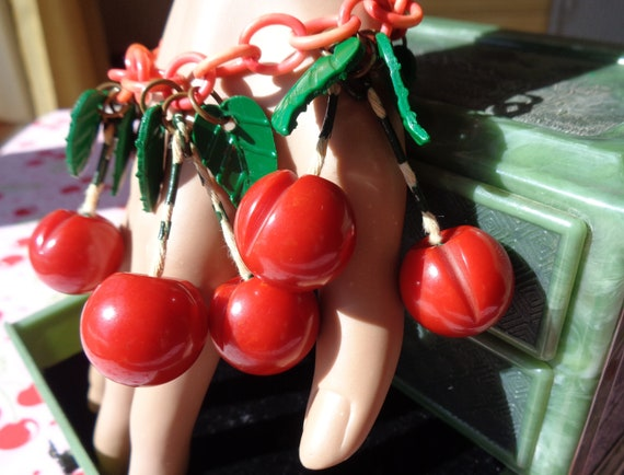 Bakelite Bracelet Carved Red Cherries on Celluloid