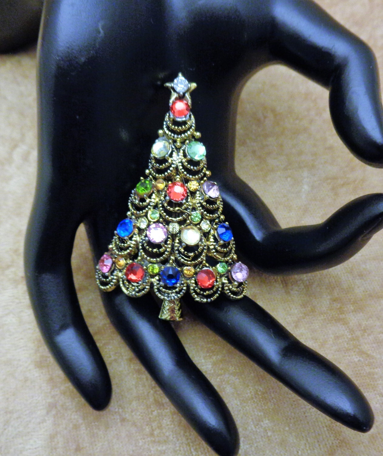 37577dcab Hollycraft Colorful Rhinestone Christmas Tree Pin 1950s Hollycraft  Rhinestone Christmas Tree Brooch Mid Century Vintage Christmas Pin