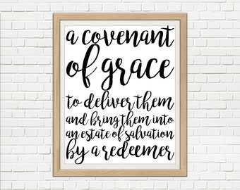 """Westminster Catechism Print """"A Covenant of Grace"""" Digital 8x10 Print Instant Download"""