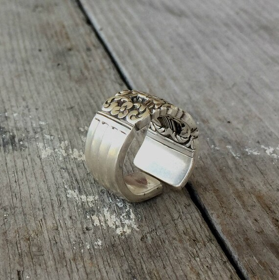 Upcycled Silver Plated Kings Spoon Handle Ring