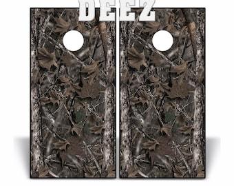 Cornhole Board Beanbag Toss 2 Vinyl Decal Wraps  WILD OAK Camo Nature woodland forest matching Camouflage