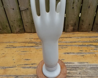 Vintage Porcelain Rubber Glove Mold on wood stand 1980's