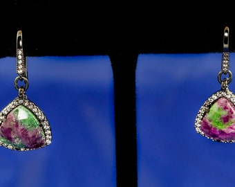 Natural Faceted Ruby Zoisite Earrings, Pave CZ Beads, Black Oxidized Silver Drop Earrings