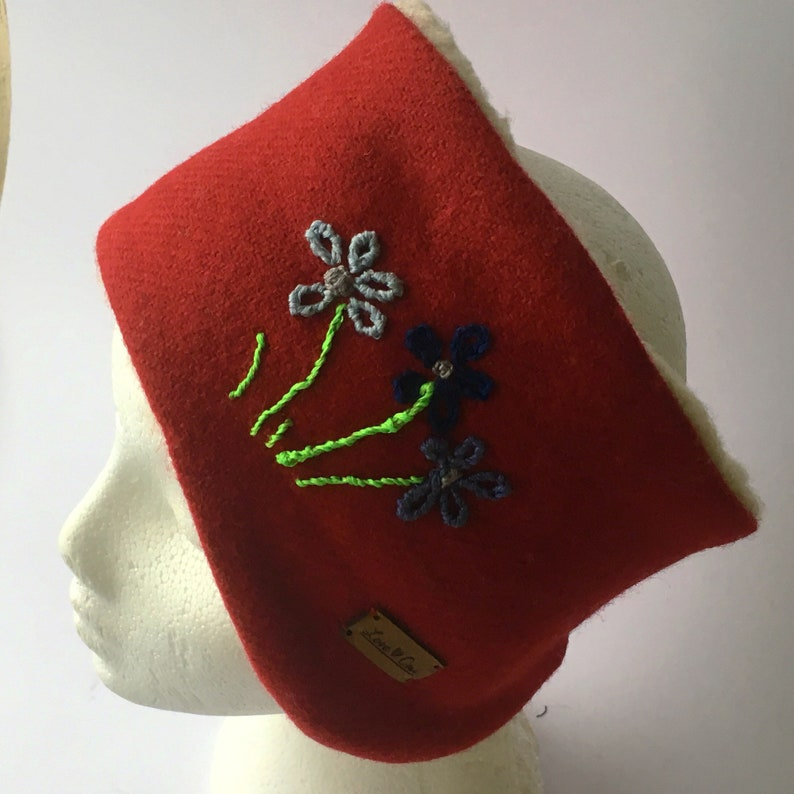 Harris Tweed Ear warmer Headband. Rich Red Luxury Hand  a203feebbbb