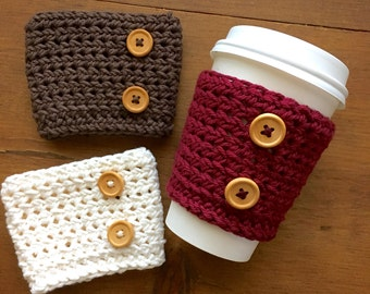 cup cozy coffee drink sleeve crochet Glacier blue button knit handmade new