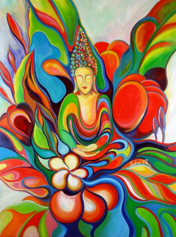 Absolute Happiness Happy Buddha Painting Giclee print on canvas Sofan Chan 18inch x 24 inch 46cm x 61cm