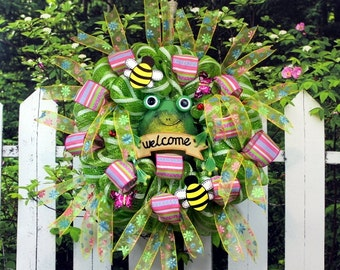 SALE 1/2 PRICE Wreath Deco Mesh in Lime Green, with Frog, Bees, Ladybugs, butterflies, Ribbon, 20 inches
