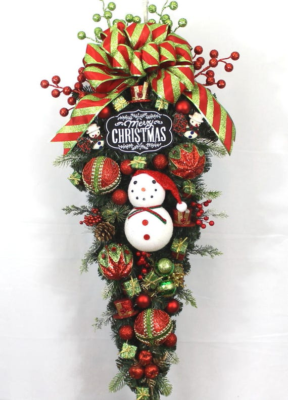 Christmas Swag.Christmas Door Swag Door Swag Christmas Swag For Christmas Christmas Door Decor Snowman Door Swag Snowman Door Decor Holiday Door Swag