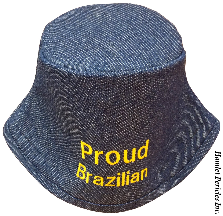 00598563d15a2 Blue Denim Unisex Bucket Hat Proud Brazilian Embroidered Hat
