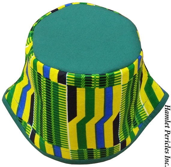 African Kente Green-top Bucket Hat Kente Hat African Hat  9bfaa2e7e09