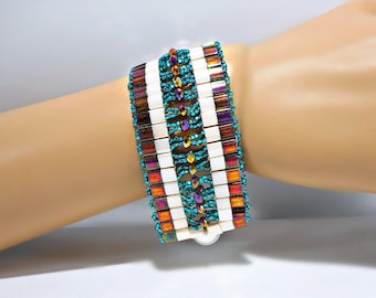 Tila, Crystal, seed beadwoven bracelet, Teal, White & Autumn finish, Magnetic clasp, elegant, luxe, sophisticated, womens gift under 60