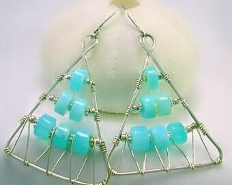 Sterling Silver & Peruvian Blue Opal Earrings, Triangle, Geometric, Art Deco