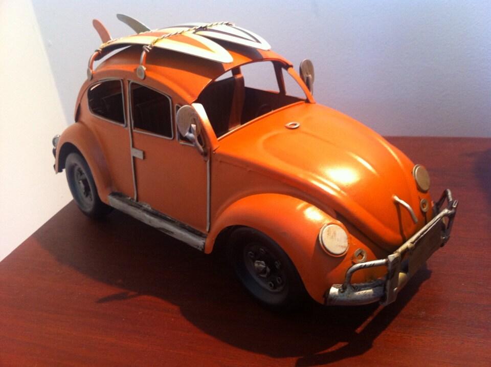 Car Craft Vw >> VW Beetle Car Orange Volkswagen Tin Metal Miniature Toy | Etsy