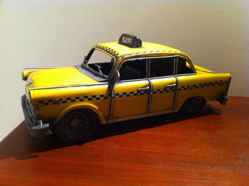 1950s Yellow Cab - New York Checker Vintage Taxi American Automobile Tin  Metal Toy