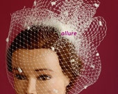 Fabulous BIRD CAGE VEIL with dots , for wedding hat, bridal hat. Amazing veil chenille fascinator.