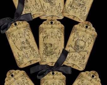 SKULLDUGGERY - 9 Vintage style skull design TAGS printable digital download