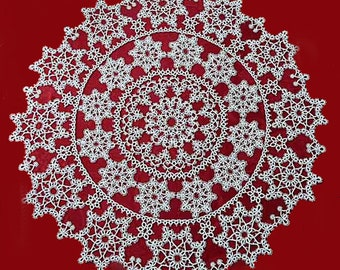 """Tatting lace tablecloth-round tablecloth """"Dance of snowflakes""""-our first Christmas gift - anniversary - wedding - FREE shipping."""