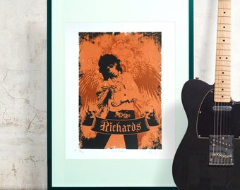 Painting Portrait Pop Star Musician Keith Richards 12X16 Inch Framed Art Print