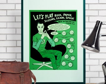 The Big Bang Theory 'Rock, paper, scissors, lizard, Spock' Hand Pulled Screen print